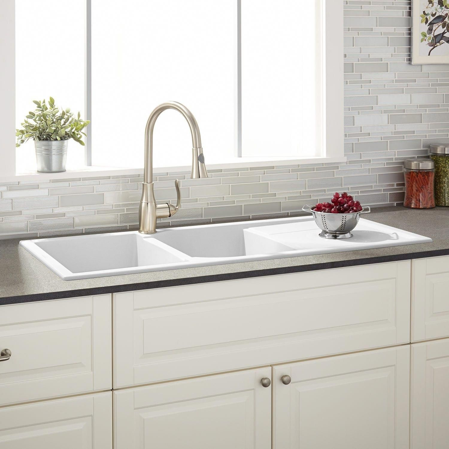 46 Tansi Double Bowl Drop In Sink With Drain Board White Kitchensinkideas Composite Kitchen Sinks Drop In Kitchen Sink