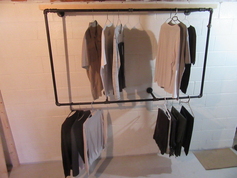 Item 257 3 4 Shelved Frame Industrial Clothing Rack Steampunk