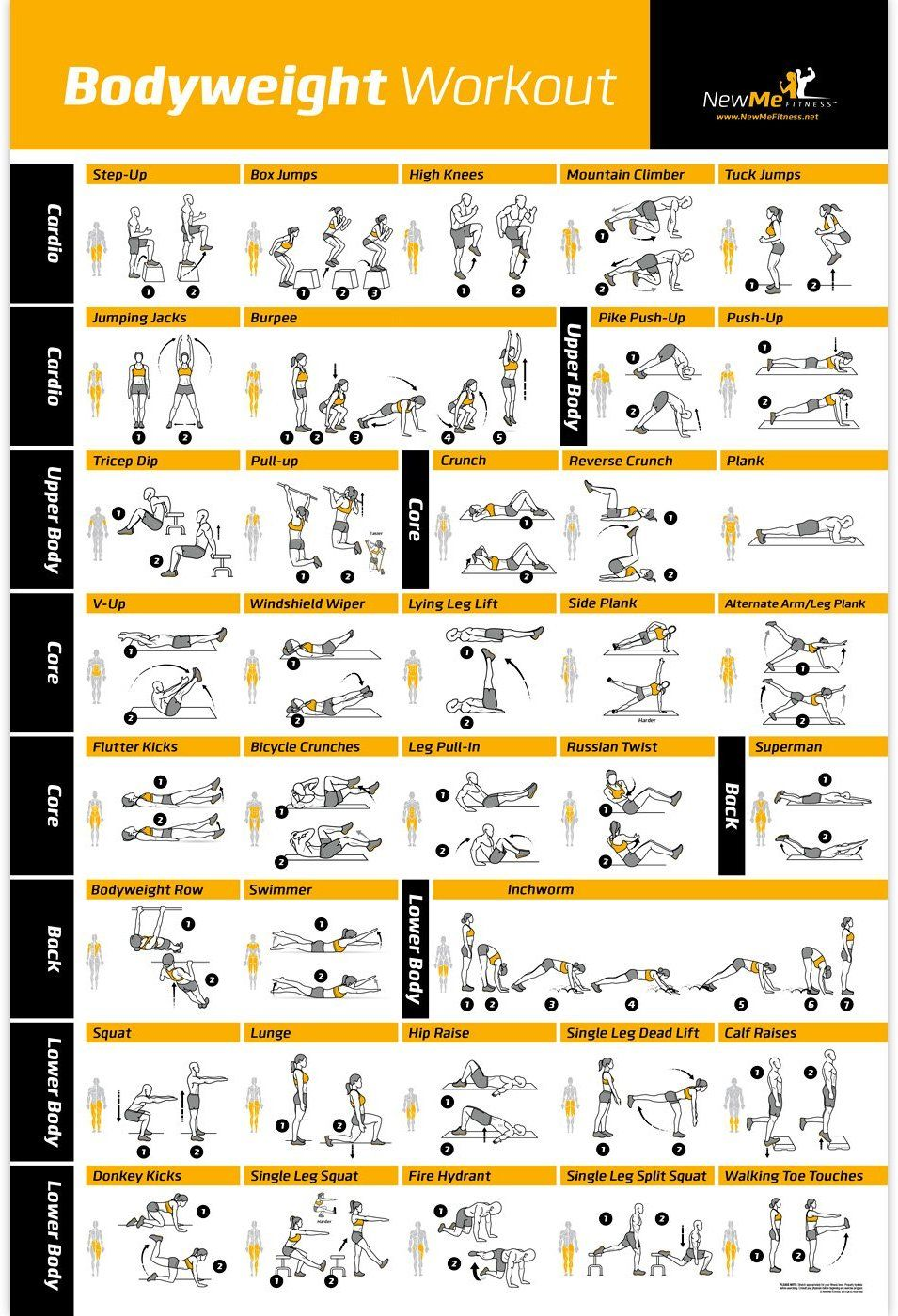 Bodyweight Exercise Poster Total Body
