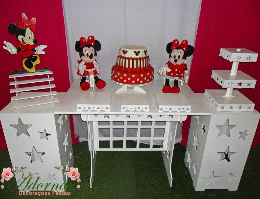 Decoracao Kit Provencal Festa Infantil Minnie Vermelha Com