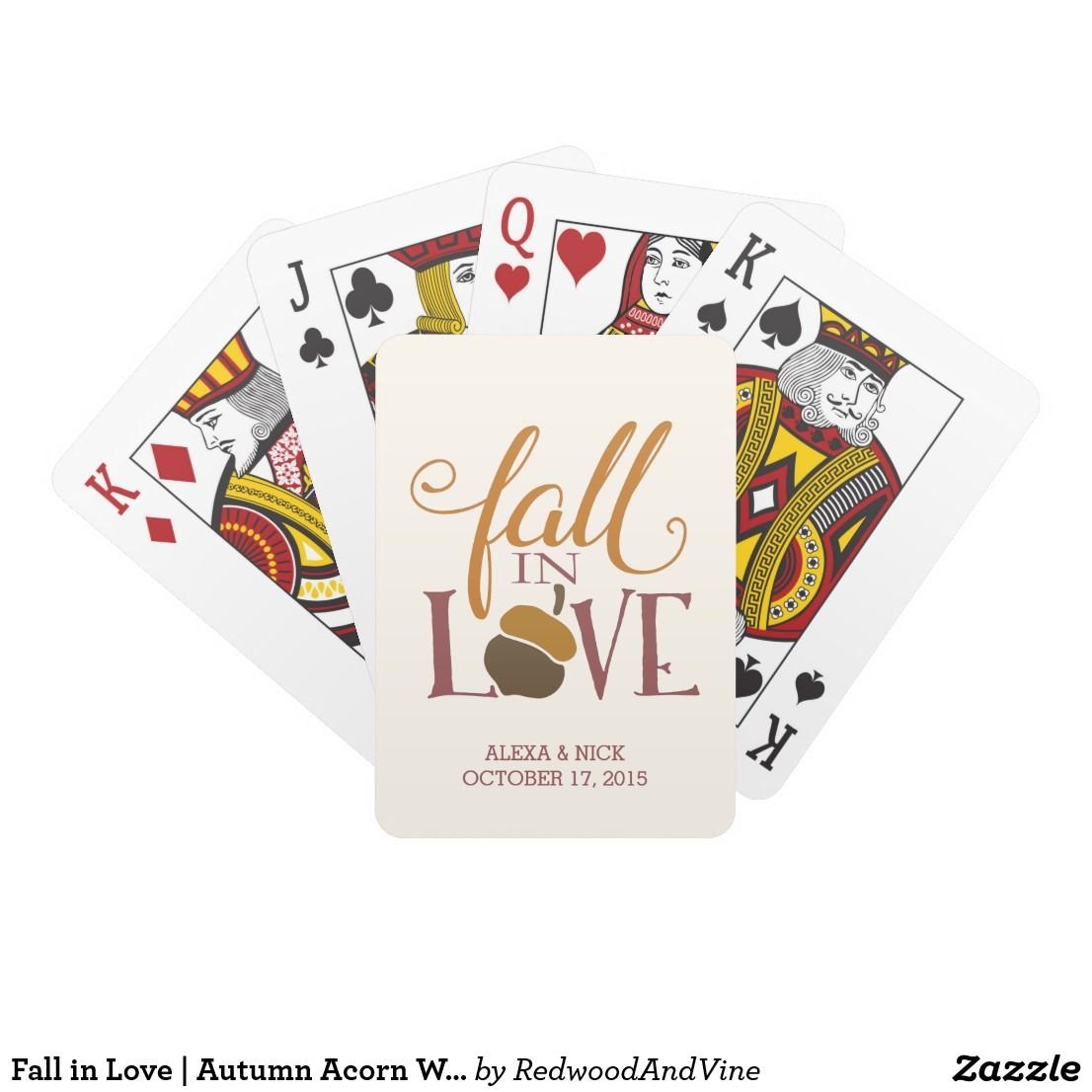 Fall in Love | Autumn Acorn Wedding Favor Playing Cards Celebrate ...