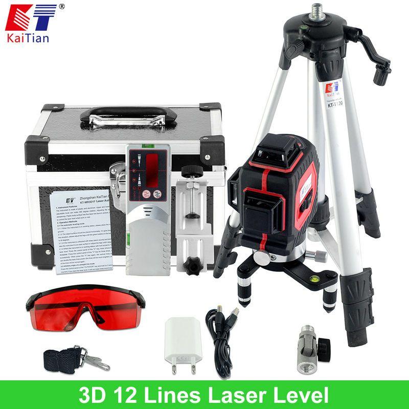 Kaitian 3d Laser Level Tripod Outdoor With Tilt Slash Function And 360 Rotary Self Leveling 650nm Eu Laser Beam Cross Line Level Laser Levels Line Level Tilt