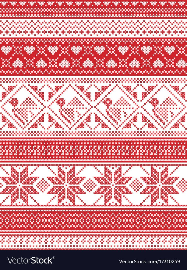 Nordic Style And Inspired By Scandinavian Christmas Pattern Illustration In Cros Scandinavian Cross Stitch Scandinavian Cross Stitch Patterns Christmas Pattern