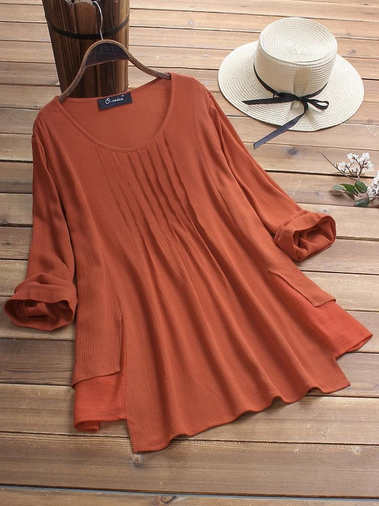808648f75a440 Vintage Solid Color Layers Pleated Long Sleeve Plus Size Blouse – bellenovo  Color  Off White