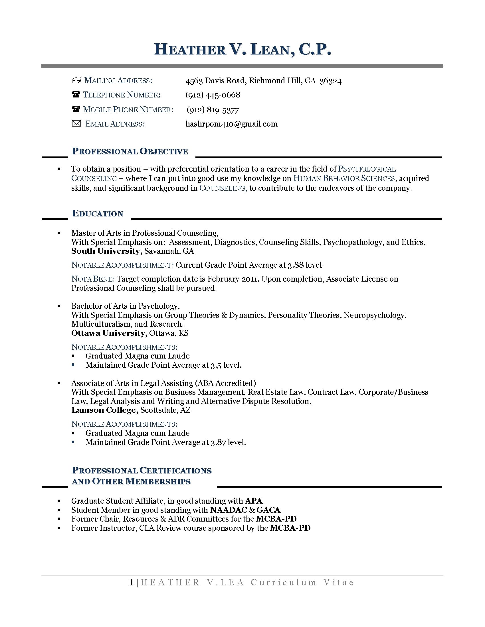 Resume Objective Example Career Change