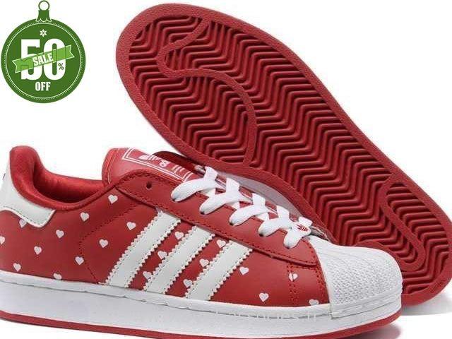 Officiel Adidas Superstar II Points Blancs Rouge Femmes (Stan Smith Pas Cher) …