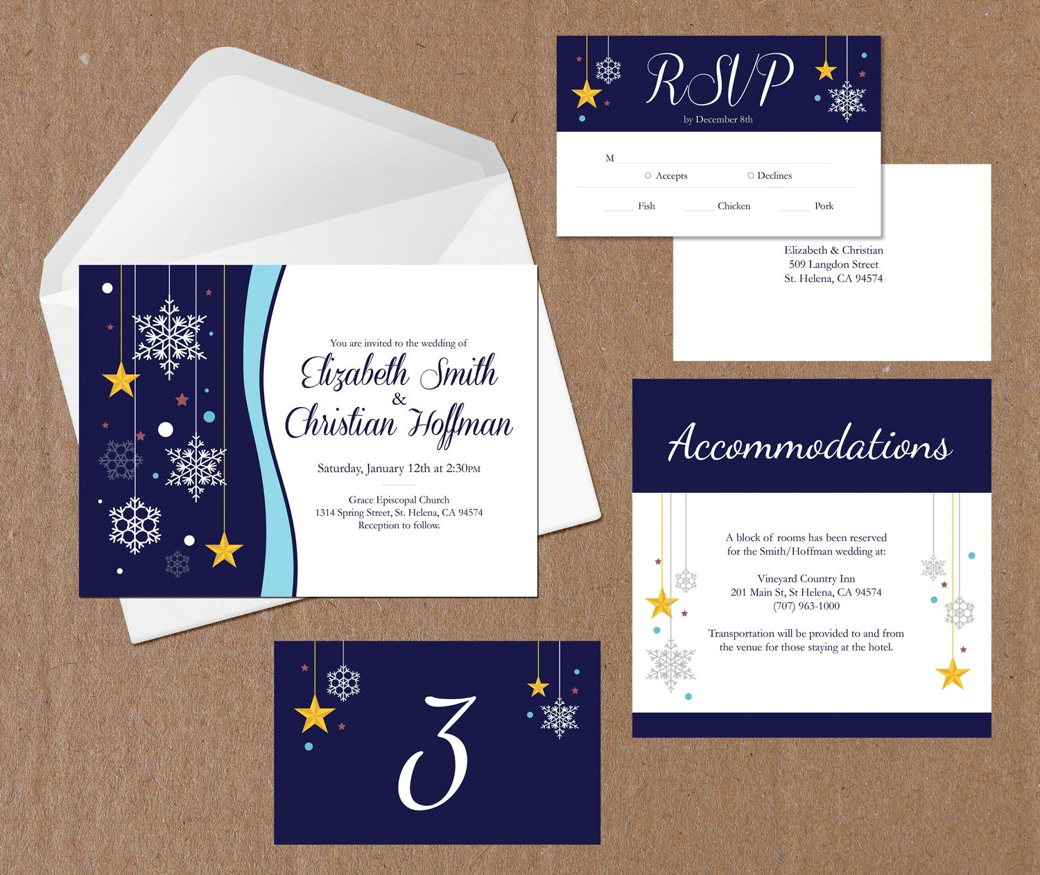 Wedding Invitation Packages.Winter Snow Wedding Invite Accommodations Rsvp Table Tent Package