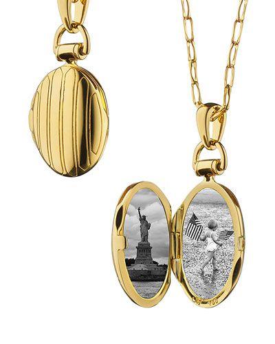 Monica Rich Kosann 18k Gold Petite Pinstripe Locket, 30L