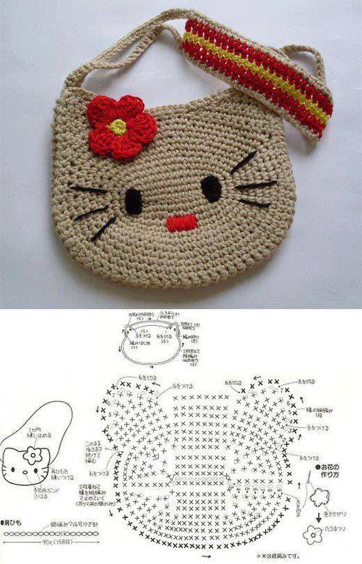 Solo esquemas y diseños de crochet: BOLSO KITTY | ME ENCANTA CROCHET ...