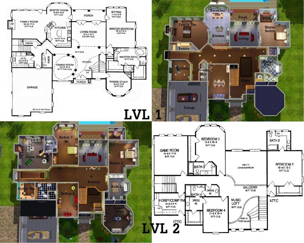 Sims 3 Modern Mansion Floor Plans Collection