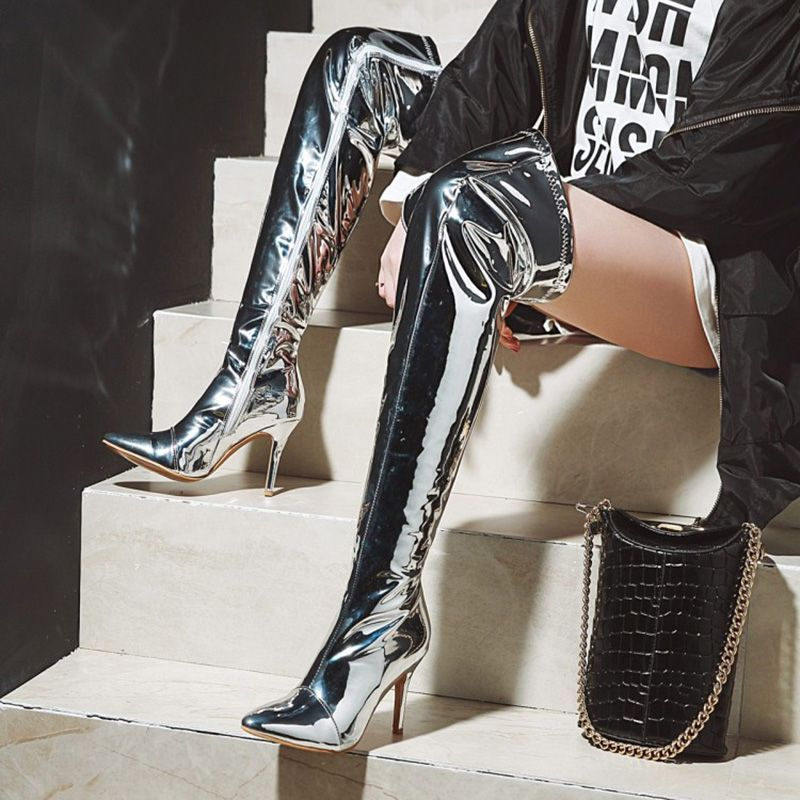 7b737a41ed1 Sexy Silver Stiletto Heel Thigh High Boots in 2019 | Knee High Boots ...