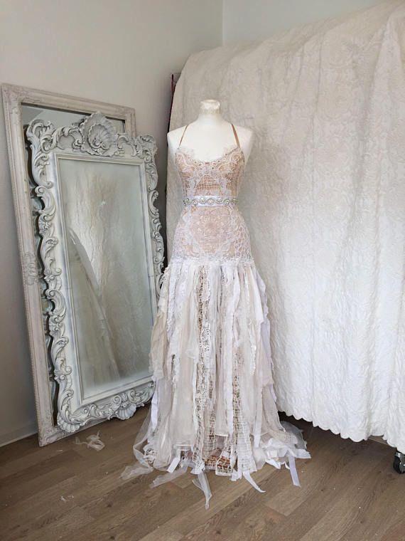 Boho wedding dress tattered look ,bridal gown tattered,pagan wedding ...