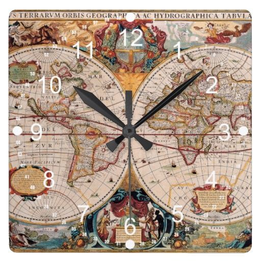 Vintage antique old world map design faded print large clock vintage antique old world map design faded print large clock gumiabroncs Image collections