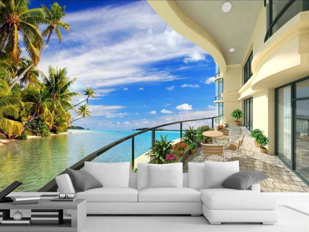 Best Find More Wallpapers Information About 3D Room Wallpaper Landscape Balcony Beach Wallpaper 3D 400 x 300