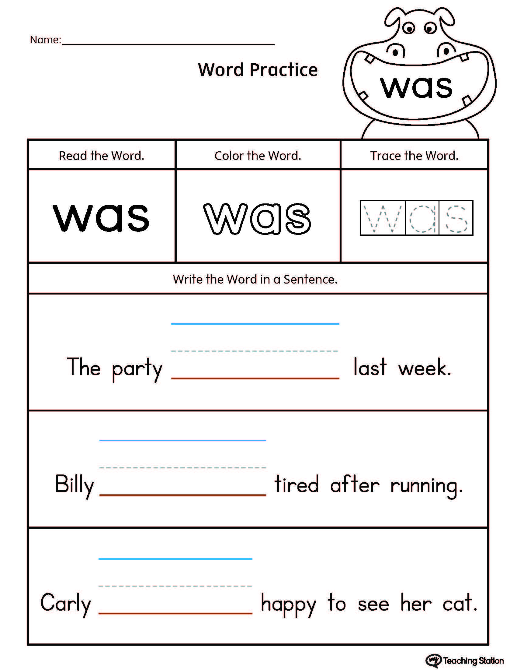 Build Sentences Using Sight Word: WAS