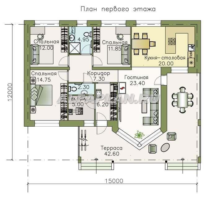 """623A""""Яркий мир"""" - одноэтажный коттедж с высокой гостиной и ..."""