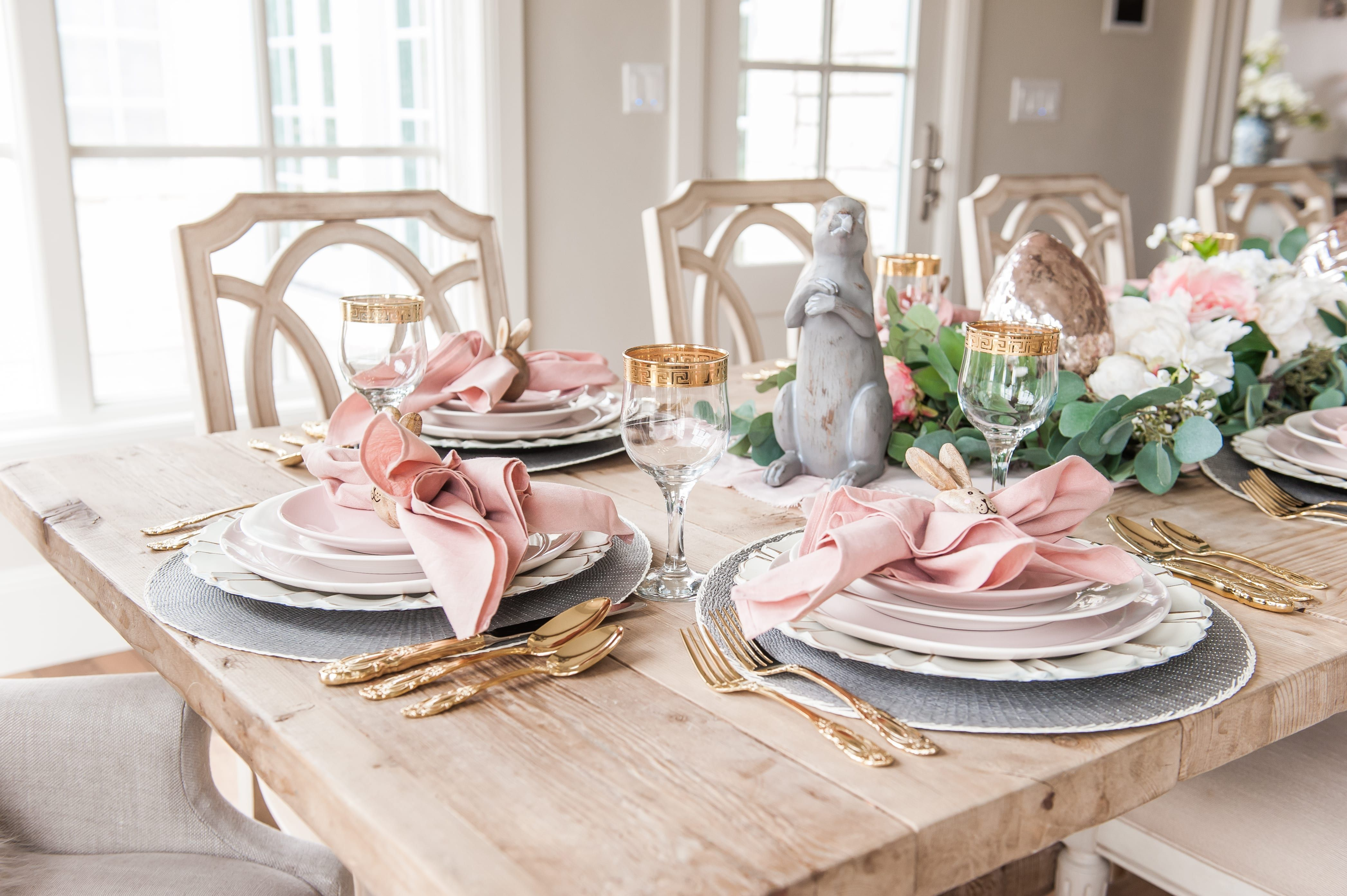 Pink And Gray Easter Tablescape Easter Dining Room Table Decor Easter Tablescapes Dining Room Table Decor