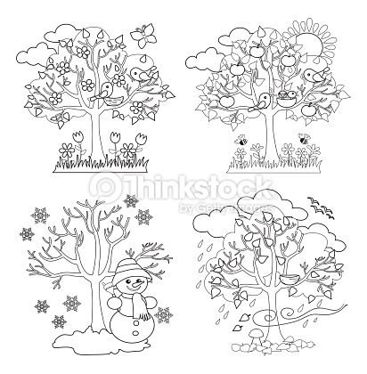 4 seasons tree art google s gning etkinlik pinterest - Dessin 4 saisons ...