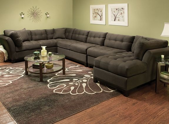Cindy Crawford Home Metropolis 2 Pc Microfiber Sectional Sofa Brown Couch Living Room Brown Sofa Living Room Brown Living Room
