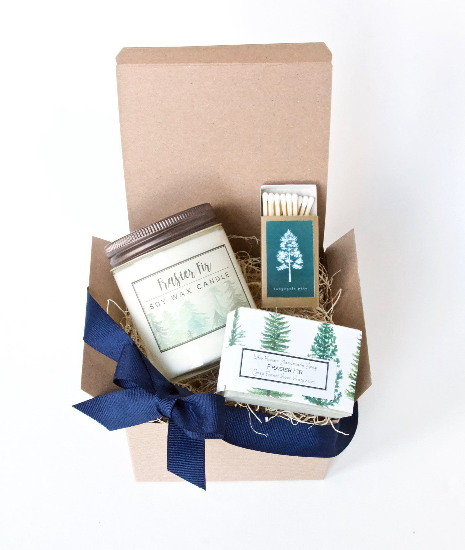Frasier fir candle and soap gift set with images