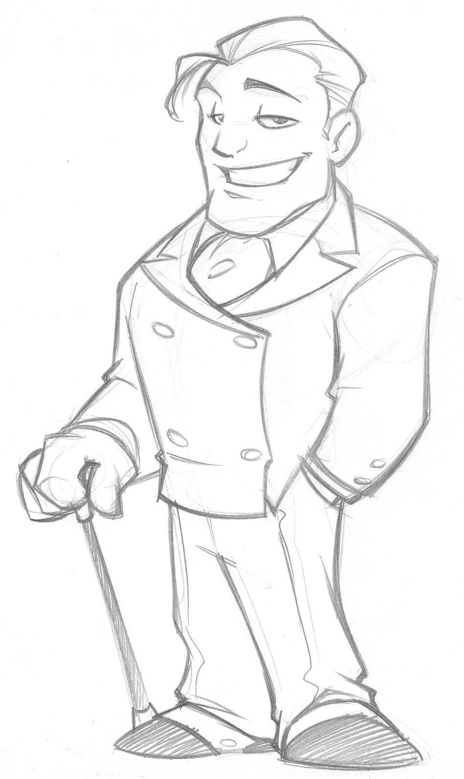 Rich guy mascot design sketch