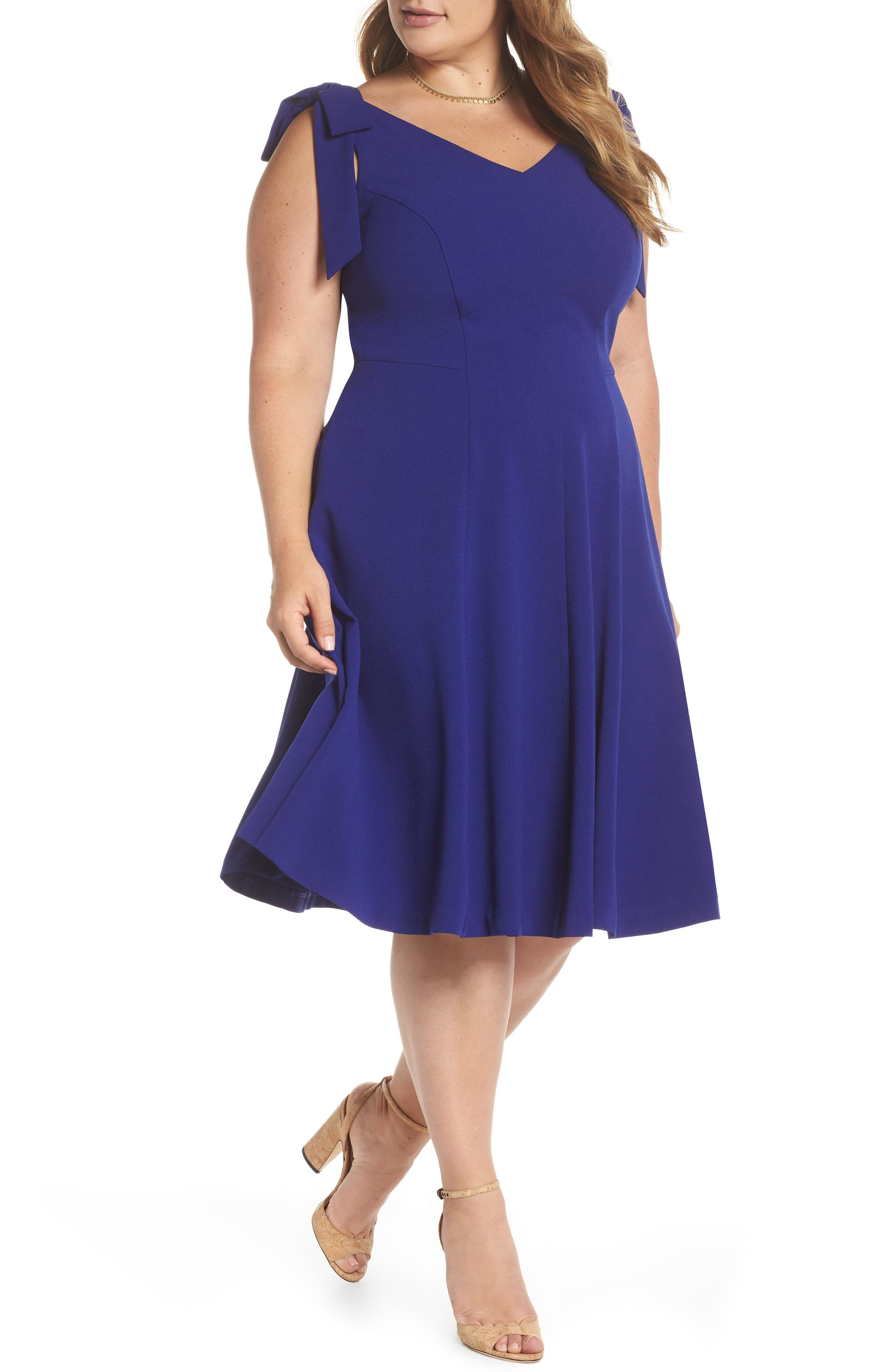 1901 TieShoulder Fit & Flare Dress Flattering plus size