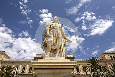 Statue of Greek national hero, admiral Andreas Miaoulis in Ermoupolis town hall square, Syros island, Greece.