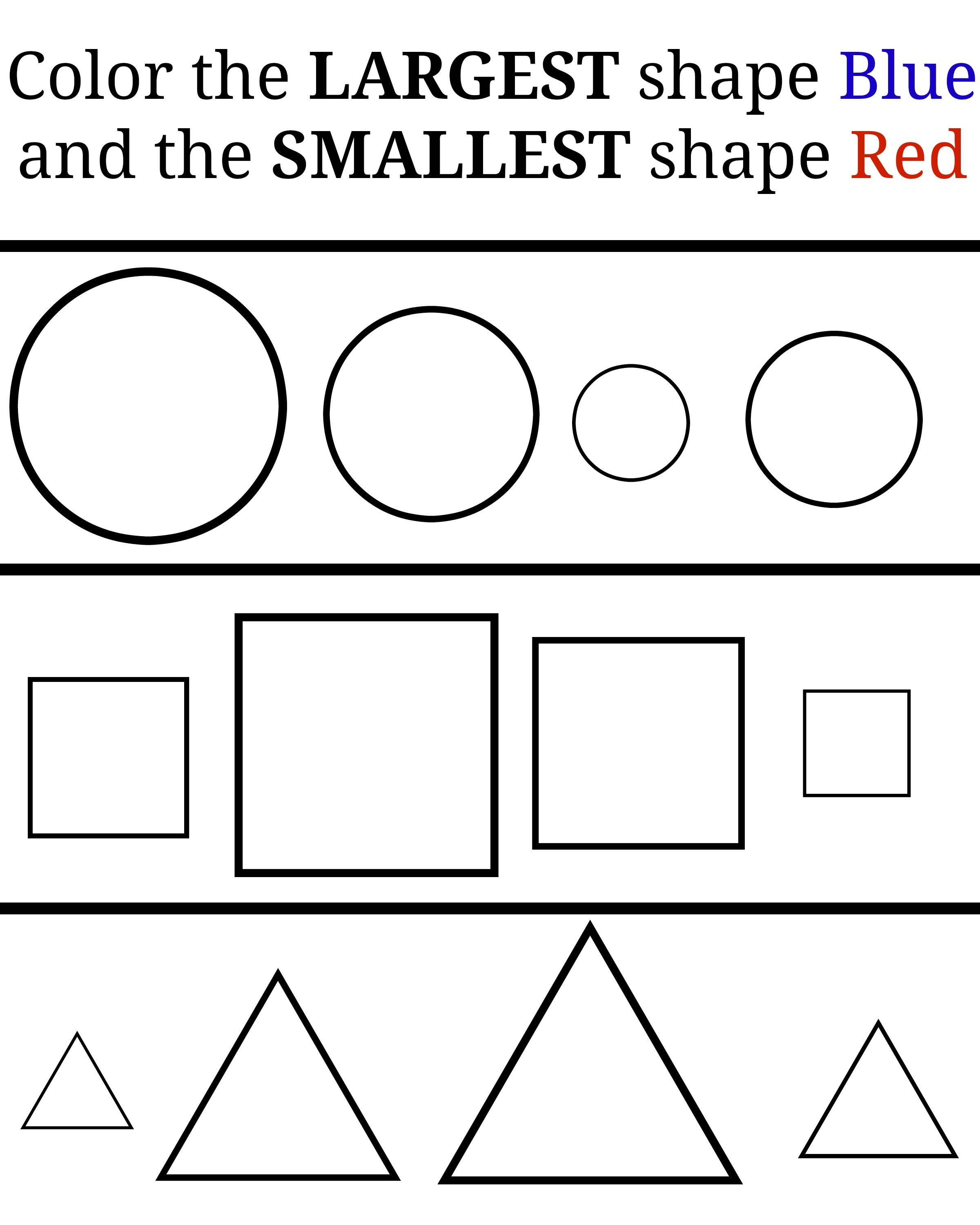 Color the shapes! Learning large and small. Learning