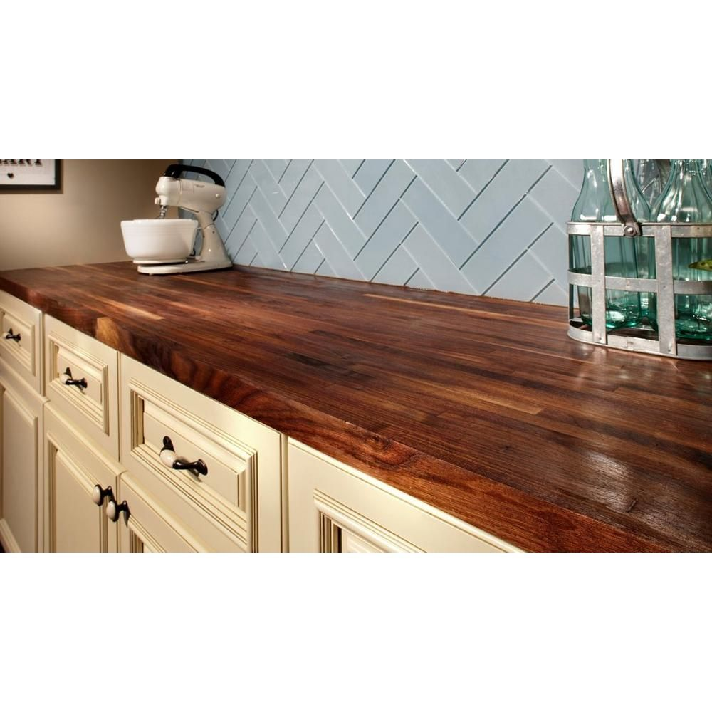 American Walnut Butcher Block Countertop 12ft Floor Decor Butcher Block Countertops Wood Countertops Kitchen Butcher Block Kitchen