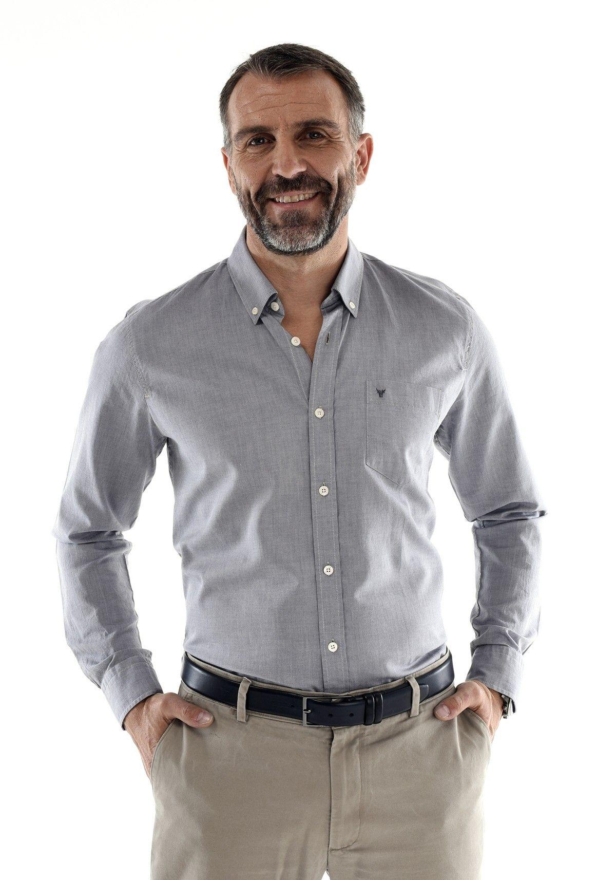 chemise mode homme classe grise oxford 100 coton style. Black Bedroom Furniture Sets. Home Design Ideas