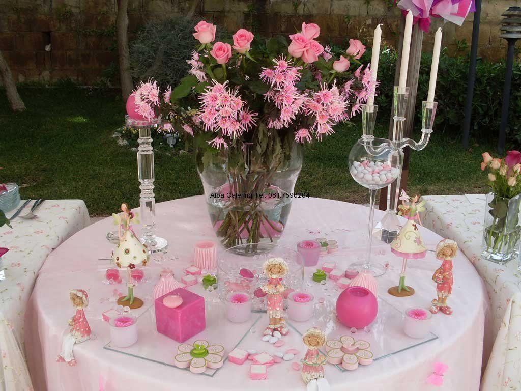 Comunione in rosa allestimento tavoli pinterest for Idee buffet comunione