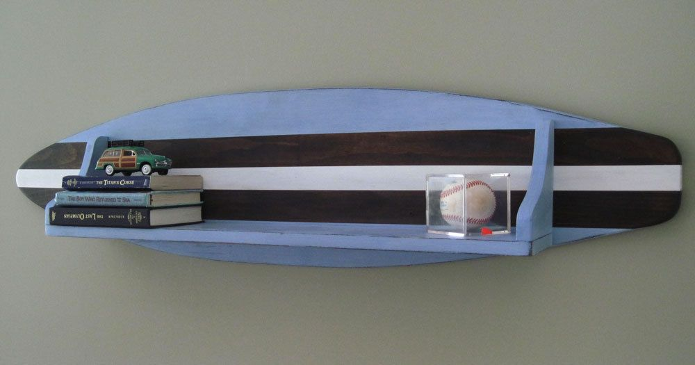 Turquoise and Orange 4″ Wood Surfboard Shelf