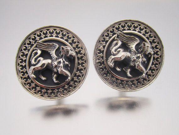 111103d40dd0 Vintage Griffin Cufflinks Lion Cuff Links by LadyandLibrarian #cufflinks  #ladyandlibrarian