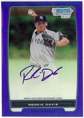 ROOKIE DAVIS 2012 Bowman Chrome BLUE ref REFRACTOR auto autograph 097/150 Reds