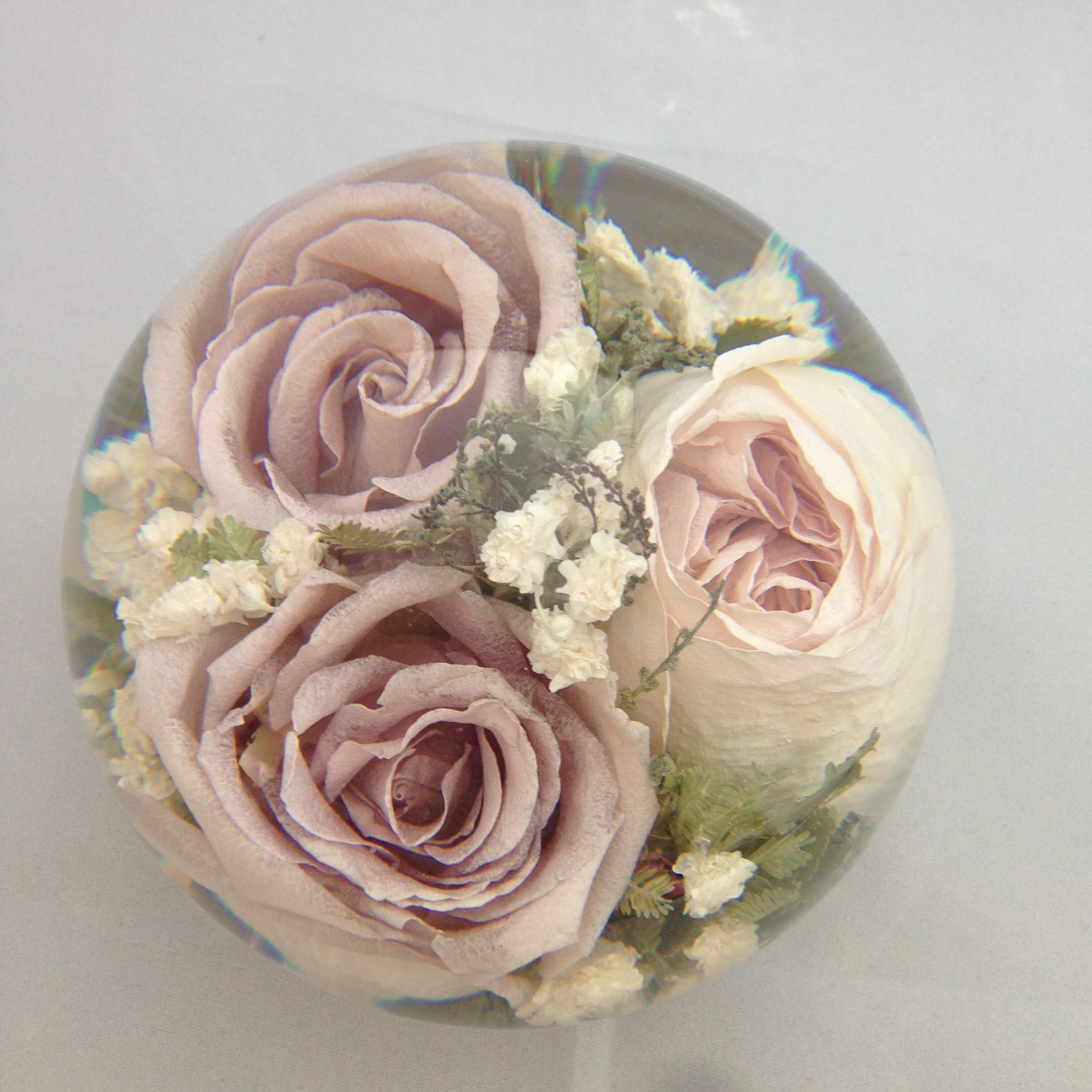 Captured Forever Within A Lovey Wedding Flower Paperweight To
