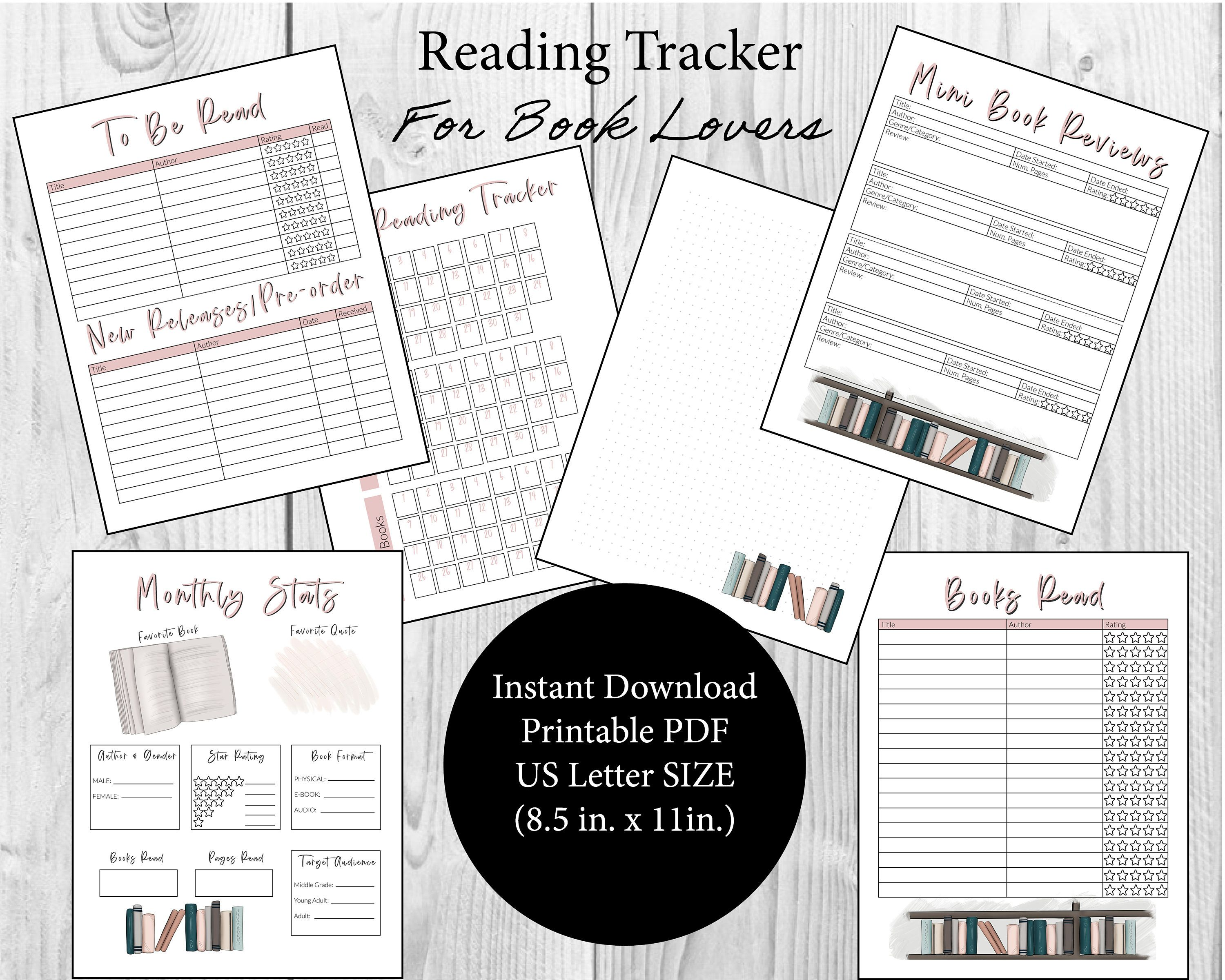 Monthly Book Statistics Trackers For Reading Planner Or Journal Us Letter Size Pdf Printable Reading Log Tbr Reading Planner Reading Tracker Planner Pages