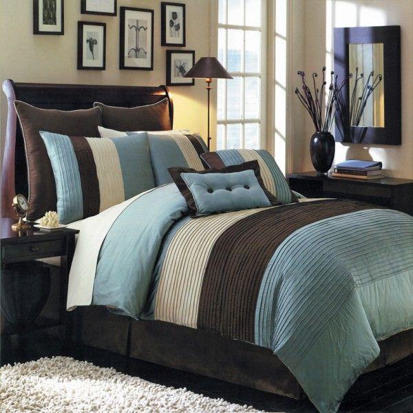 King Size Blue Hudson Luxury 12-Piece Bedding Set