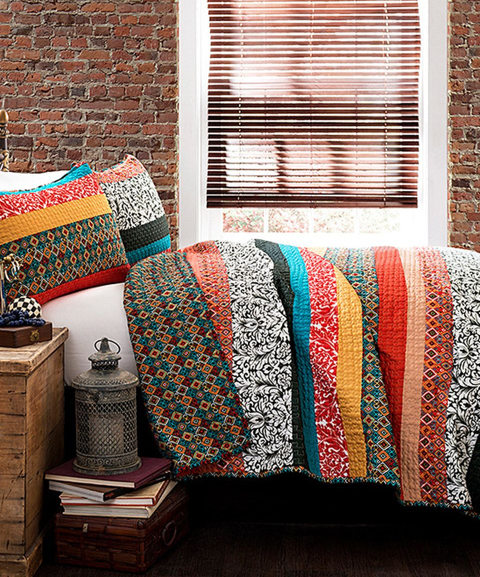 This Turquoise & Tangerine Soho Stripe Quilt Set by Lush Décor is perfect! #zulilyfinds