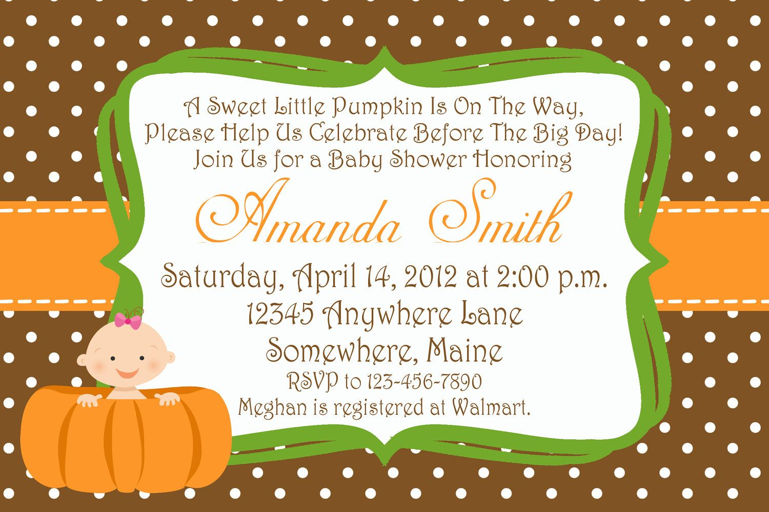 10 Cute Little Pumpkin Baby Shower Invitations with Envelopes. $7.00, via Etsy.