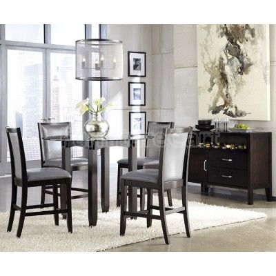 Trishelle Counter Height Dining Set w/ Grey Chairs ...