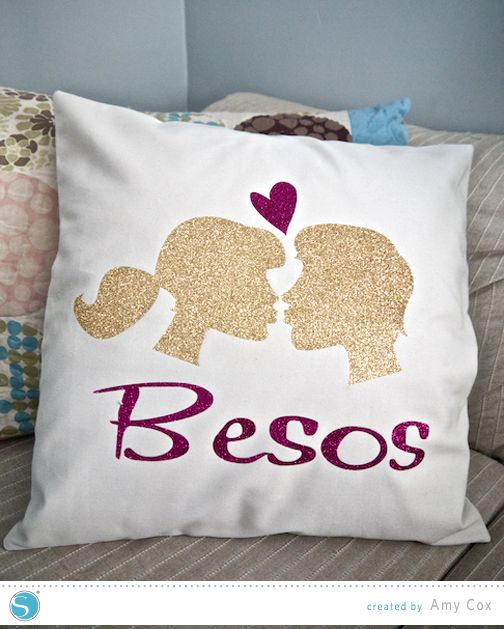 Glitter Heat Transfer Pillow (Don't care for the image, but great hint like using the Flocked setting for the glitter HTV)