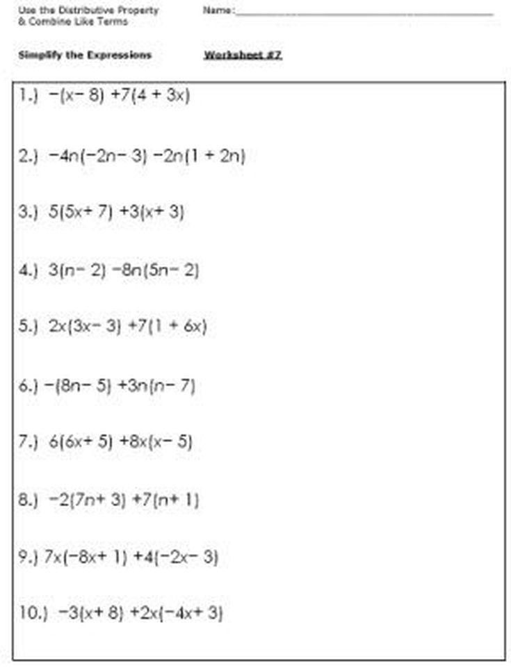 Simplifying Algebraic Expressions Worksheet Simplifying Expressions Simplifying Algebraic Expressions Algebraic Expressions