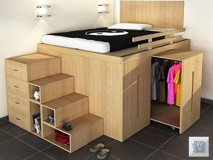 V Etoj Kompaktnoj Mebeli Transformere Zalozheny Produmannye Varianty Hraneniya Dizajn Komfort I Uyut Na 5 J F In 2020 Cool Loft Beds Small Room Design Wardrobe Bed