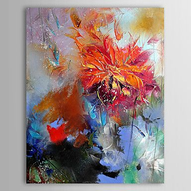 Iarts oil painting floral abstract red flower with stretched frame hand paint - Peinture abstraite huile ...