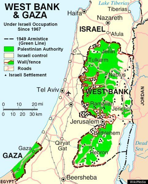 Israel MAP The Palestinian Regions Changing Borders  Israel and