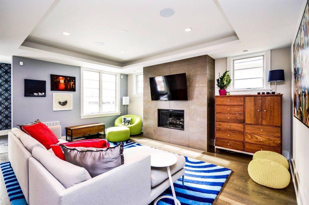 modern living room with papasan chair teca storage trunk bench