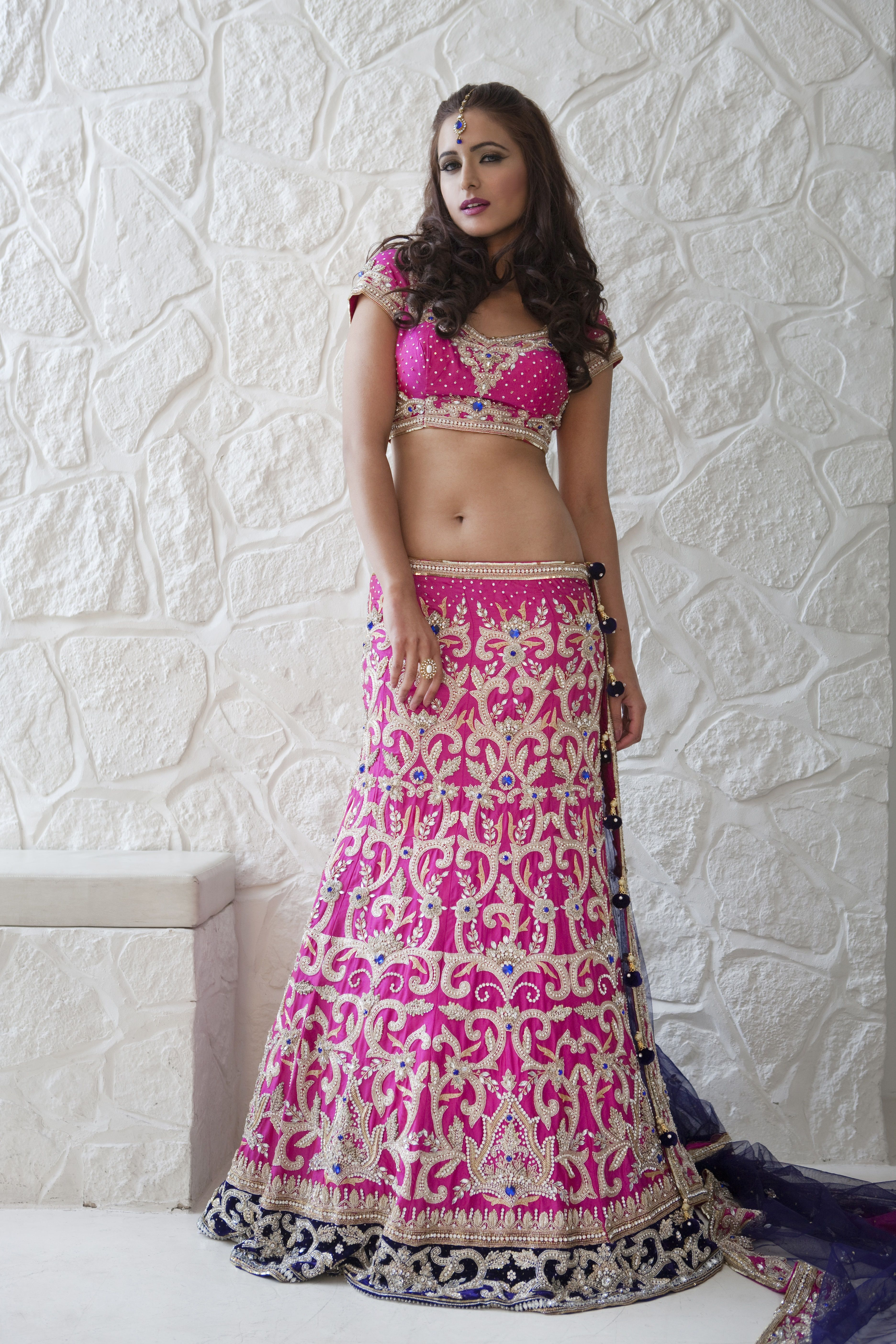 WL09 - heavily embroidered pink and purple lengha with pearl and ...