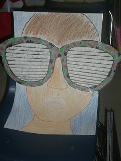 2b30a10d992a Students glue the sunglass template onto a white sheet of paper, drawing a  picture behind the glasses. The sunglasses have lines on them in which to  write.