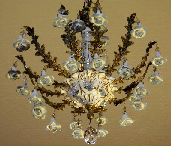 Vintage Chandelier Antique Capodimonte By Lightsfantastic On Etsy 299 00