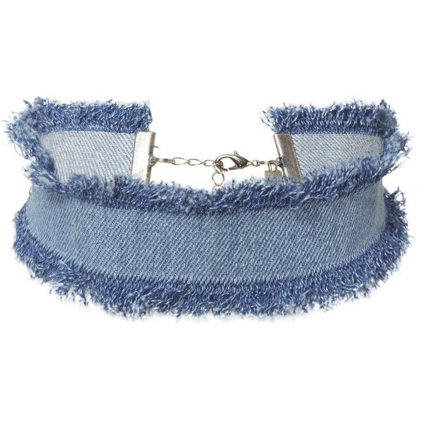 Frayed edges add to the casual-cool feel of this chic denim choker. Lobster closure in silver-tone hardware at back.